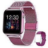 GOKOO Smartwatch Damen Frauen 1.4inch Zoll IPS HD-Touchscreen Fitness Tracker IP68 Wasserdicht SpO2 Stoppuhr schrittzähler Armbanduhr mit Schlafmonitor Pulsuhr Musiksteuerung Uhren für iOS