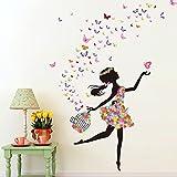 Wallpark Romantisch Tanzen Mädchen Blume Fee Schmetterling Abnehmbare Wandsticker Wandtattoo, Kinder Kids Baby Hause Zimmer Kinderzimmer DIY Dekorativ Klebstoff Kunst Wandaufkleb