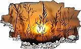DesFoli Sonnenaufgang Wiese Natur 3D Look Wandtattoo 70 x 115 cm Wanddurchbruch Wandbild Sticker Aufkleber C349