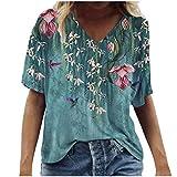 BUKINIE Damen-T-Shirt mit V-Ausschnitt, Blumenmuster, kurzärmelig, grafisches T-Shirt, lockere Passform, ausgestellt, Bohemia-Druck, Sommer-Tops für Frauen in Übergröße Gr. XXX-Large, Mehrfarbig 3