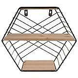 WANZSC Eisenregale sechseckiges Gitter Wandregal Aufbewahrung Halter nordischer Stil Dekoration Wandmontage-Bücherregal Display Geometrisches Regal (02)