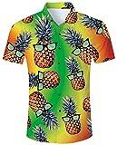 Goodstoworld Hawaiihemde Herren Freizeit Hemden Slim Fit Hawaiihemd Hirsch Deer 3D Bunt Kurzarmhemd Männer Hemd Shirt Blau XL