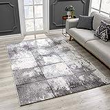 SANAT Wohnzimmer Teppich Modern Design - Kurzflor Tepiche für Wohnzimmer, Schlafzimmer, Küche - Handgearbeiteter Konturenschnitt, Öko-Tex 100 Zertifiziert, Hellgrau, Größe: 160x230 cm