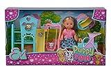 Simba Evi Love Puppy Fun / Puppe mit DREI süßen Hundewelpen und tollem Hundespielplatz / Schaukel, Rutsche und 2-in-1 Buggy / 12cm / Für Kinder ab 3 Jahren geeignet