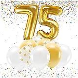 Feste Feiern Party-Deko zum 75. Geburtstag Gold Metallic Set Zahl 75 Zahlenballon Luftballon Folienballon 75ster Jahre Goldene Sterne weiß Glanz 21 Teile Dekoration Happy Birthday Jubiläum