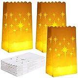 Aneco 48 Stück Sterne Design Leuchttüten Weiß Papier Laternentüten Flammenbeständige Kerzentüten Teelichthalter Leuchttüten für Weihnachten, Hochzeit, Empfang, Party Dekoration