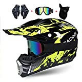 LEENY Motocross-Helme, Kinder, Full-Face Crosshelm Set mit Schutzbrille/Handschuhen/Maske, Integralhelm, Enduro Downhill Quad Motorradhelm BMX MTB Fahrradhelm, XL (58 ~ 59 cm)