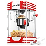 Popcornmaschine, AICOOK Profi Retro Heiße Butter 300W Popcorn Maschine, mit Retro Light, Antihaftbeschichtung, Popcorn-Tablett, Kurze Aufheizzeit, Geeignet für Film und Weihnachtsnacht, Rot