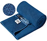 Heathyoga Yoga-Handtuch, rutschfest, Yoga-Matte, Handtuch mit gratis Sprühflasche, Silikonpartikel, 100% Mikrofaser, super schweißabsorbierend, ideal für Hot Yoga, Bikram und Pilates, blau