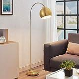 Lindby LED Stehlampe (Bogenleuchte) 'Moisia' in Gold/Messing aus Metall u.a. für Wohnzimmer & Esszimmer (1 flammig, E27, A++) - LED-Stehleuchte, Floor Lamp, Standleuchte, Wohnzimmerlampe