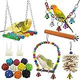 17 Stück Bunten Vogelspielzeug, Stehende Sitzstangen Vogel Papagei Schaukel Spielzeug mit Glocken, Handgemacht Vogelkäfig Spielzeug für Liebesvögel Finken Papageien Sittiche Nymphensittiche C