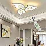 Modern LED Wohnzimmerlampe LED Deckenleuchte Deko Wohnzimmer Lampe Schlafzimmerlampe Blumen Designe Dimmbar Weiß Deckenlampe mit Fernbedienung Acryl Lampenschirm Esszimmer Esstisch Kronleuchter Lampe