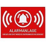 6 x Aufkleber Alarmgesichert (Klein - 5 x 3,5cm) - Schutz vor Einbruch in Auto und Wohnmobil - Aussenklebend - Alarm Sticker für mehr Sicherheit - Alarmanlage Aufkleber für außen - Geschlitzt