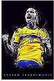 HuGuan Leinwand Druck Poster Fußballspieler Zlatan Ibrahimovic für die Dekoration des Esszimmers Wandkunst Kunstwerk Malerei Kunstdrucke Bild 23.6'x31.5'(60x80cm) Kein Rahmen