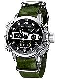 MEGALITH Herrenuhr Militär Sport Digitaluhr Chronograph LED Wasserdicht Groß Armbanduhr Herren Digital Analog Wecker Datum Armeegrün Uhren fur Männer Jugendliche