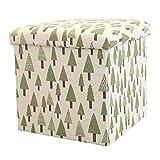 GAXQFEI Flodingfootstoolpouk, Cubefootreststoolwithstorage, Portablecottonlinenfootreststool, Fußstühleform,Baum,Klein