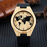 GIPOTIL Minimalistische Uhr Herren Kreative Weltkarte Uhr Natürliche Bambus Holz Quarz Analoge Handgefertigte Uhr Männlich SchwarzLeder Stunde