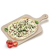 Flammkuchenbrett Holz Pizza Holzbrett mit Griff Servierbrett Flammkuchen Brettchen Servier Holzplatte Pizzaschieber für Pizzastein Brotschaufel Pizzaschaufel für den Grill