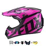 Kindermotorradhelm, Kinderkreuzhelm Entworfen mit Fox Kids Downhill Helm mit Handschuhen/Schutzbrille/Maske/Bungy Net (5 PCS) (S: 52-55 cm)