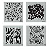Schablonen-Set mit Tiermotiven – enthält Zebrastreifen, Leopardenmuster, Giraffe, Schlangenhaut Jede Schablone misst 14,6 x 15,2 cm und ist aus lasergeschnittenem Mylar entworfen von Stencil1