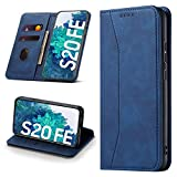 Leaisan Handyhülle für Samsung Galaxy S20 FE Hülle Premium Leder Flip Klappbare Stoßfeste Magnetische [Standfunktion] [Kartenfächern] Schutzhülle für Galaxy S20 FE Tasche - Blau