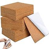LORESJOY 50 Stücke Selbstklebende Kork-Quadrate,4'x 4' quadratische Kork-Untersetzer Selbstklebende Korkplatten für Untersetzer und Bastelarbeiten