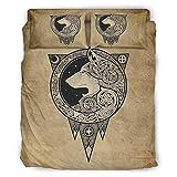 STELULI 4-teiliges Bettwäscheset, Wikingerwolf, Komfortables Design, Bettbezug, weiß, 240 x 264 cm