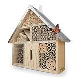 WILDLIFE FRIEND | Insektenhotel mit Metalldach - unbehandelt, Insektenhaus aus Naturholz für Bienen, Marienkäfer, Florfliegen & Schmetterlinge, Bienenhotel & Nisthilfe zum aufhäng