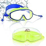Esportic Schwimmbrille für Kinder, Profi Taucherbrille Kinder Schwimmbrillen mit 2x Ohrstöpsel, Schutzbrille Schwimmbrillen Taucherbrille Badebrille für 6-14 Jahre Kinder - Antibeschlag UV Schutz