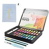 MOPOIN IWILCS Aquarellfarben, 36 Wasserfarben Set, Tragbar Malkasten mit 8 Wasserfarben Papier 1 Aquarellpinsel 2 Schwamm Aquarellfarbkasten für Anfänger und Profis