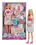 Simba 105733480 - Steffi Love Babyglück, Schwangere Puppe mit Baby und tollen Sounds, Babyzubehör und Babyschale