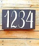 qidushop Hausnummernschild, rustikales Landhaus-Schild, Landhaus-Palettenschild, rustikales Zahlenschild, Holzschild, dekorativ