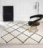Bahar Shaggy Hochflor (35 mm) Langflor Wohnzimmer Teppich, Naturlook, Fransen, Rauten Muster Creme-Schwarz 080x150