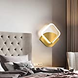 LED Wandleuchte 14W Dimmbar Wandlampe, Modern Quadrat Schlafzimmerlampe, Gold Eckig lampe aus Metall und Acryl, Leuchte für Wohnzimmer Schlafzimmer Treppe Flur L27CM