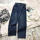 QXXKJDS Frühling Casual Frauen S Jeans Streetwear Hohe Taille Denim Hose Vintage Frauen Jeans Blaue Gerade Hose Denim Hose (Color : Blue, Size : XL)