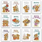 Geburtstagskarten Klappkarten 12er Set mit passenden Umschlägen Glückwunschkarten Geburtstag Alles Gute Happy Birthday Geburtstags Wünsche Liebe Bär Bärchen Kinder Geburtstagskarte (Klappkarte)