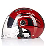 Jet Motorradhelm Matt Schwarz Double Visor Helm - Roller - ECE Zertifiziert Motorrad Mopedhelm Halboffener Motorradhelm Für Kreuzer,mopeds,Roller,geländefahrzeuge D,M(54~56cm)