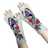 Fingerlose Handschuhe für Damen, gestrickt, verlängert, fingerlos, Tierstickerei, Fäustlinge, Armstulp