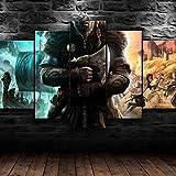 AWER leinwand malerei 5 panel Assassins Creed Valhalla Game Viking Leinwandbild Kunstdruck auf Leinwand Moderne Malerei für Schlafzimmer Wohnzimmer Office Wand H