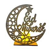 Mubarak Ramadan LED Holz DIY Lampe, Muslimischer Islam Eid Festival Dekoratives Licht Für Zuhause, Büro Und Palast, 5,51 × 5,91 × 0,1Z