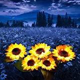 BABYCOW Set von 2er Pack Solarleuchten Garten im Freien, lebendige Sonnenblumenblume Pfahl Lichtpfad Lichter Gartendekorationen Patio Hof im Freien Weihnachtsweg Dekor