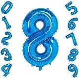 ZQBB Folienballon Zahlen Luftballons Helium Blau Ballons in 100cm für Geburtstag Party Dekoration Kinder(Zahl 8)