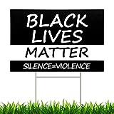 Dnifo Black Lives Matter Rasenschild Anti Racism BLM Movement Silence Violence We Believe Yard Schild, 2-seitig bedruckt, wetterfest, gewellter Kunststoff mit Metall H Stab