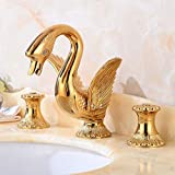 Verbreitet Basin Hahn-Messing Luxus Gold/Schwarz Bronze Swan Deck montiert Badarmaturen 3-Loch mit warmen und kalten Wasserhähne, Goldart
