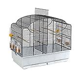 Ferplast Vogelheim für Kanarienvögel und Exoten CANTO, Käfig auch geeignet für Brutperiode mit Trennwand, und Zubehö