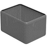 Rotho Madei Aufbewahrungskorb 13l, Kunststoff (PP recycelt) BPA-frei, anthrazit, 13l (32,6 x 23,8 x 18,8 cm)