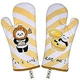 Hospaop Ofenhandschuhe, Ofenhandschuhe zum Backen, Leinwand-Backhandschuhe Lang mit Panda-Muster, Kochhandschuhe Backofenhandschuhe Hitzebestaendig Küchenhandschuhe(32 cm -2er Set)