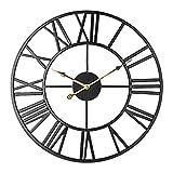 Silent Skeleton Wanduhr, Taodyans römische Ziffern 40cm Metall Vintage große Uhr für Wohnzimmer Küche Cafe Hotel Büro Schlafzimmer Home Decor (Schwarzes Gold)