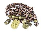 esperanza-deseo Armband Ibiza Style Leopard LIVE, Love, Laugh Brass