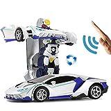 YAMMY RC Transform Auto Roboter für Kinder, Gestenerkennung Fernbedienung Polizeiwagen Spielzeug EIN-Knopf-Verformung und 360 ° rotierendes L (intelligentes Auto)